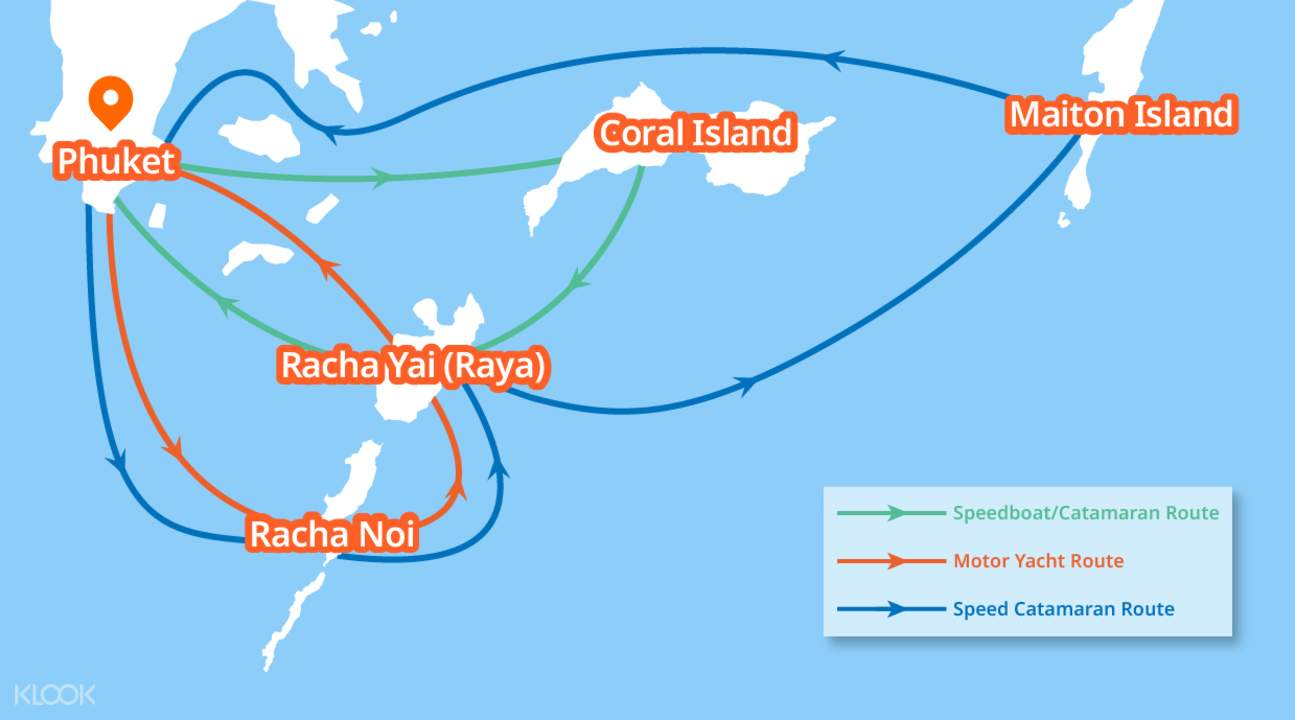 racha yai phuket coral island line map